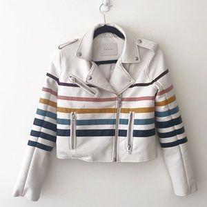 BLANK NYC Rise and Shine Striped Moto Jacket